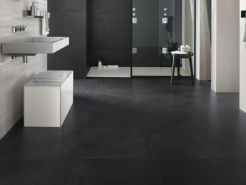 pavimento nero effetto cemento spatolato