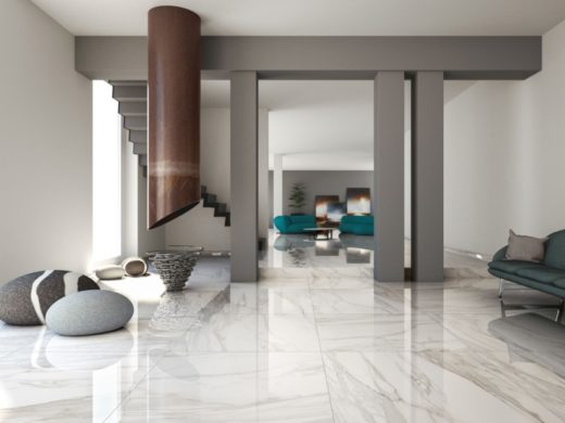 pavimento in marmo, design futuristico