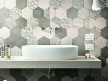 piastrelle esagonali bagno, motivi vari