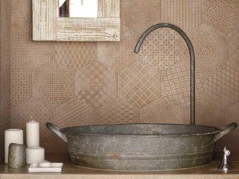 piastrelle esagonali lavabo bagno