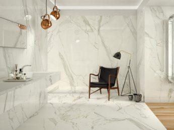 rivestimento in gres porcellanato con effetto marmo, angolo bagno