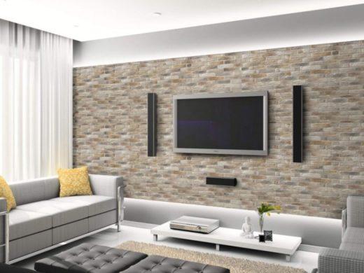 rivestimento in pietra tv salotto