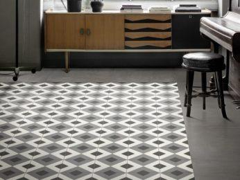 tappeto con cementine decorate quadrate a rombo